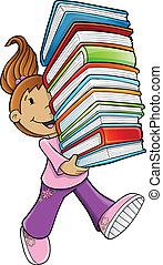 flicka studerande, bärande, böcker