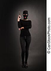 flicka, svarting gevär