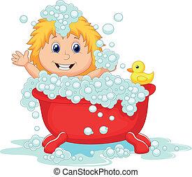 flicka, tecknad film, badning, i rött, slagträ