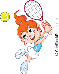 flicka, tennis