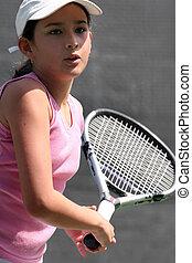 flicka, tennis, leka