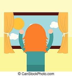 flicka, tittande, den, fönster, morgon, scen