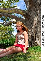 flicka, träd, ung