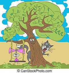 flicka, under, träd, illustration, katt