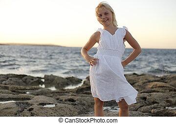 flicka, ung, ocean