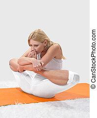 flicka, ung, professionally, yoga, upptagen, vacker