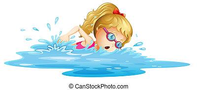 flicka, ung, simning