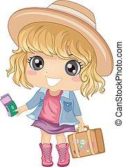 flicka, unge, resa, bagage