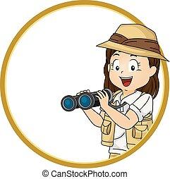 flicka, unge, utforskare, illustration, ram