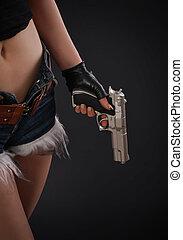 flicka, upp slut, gevär, hand, sexig
