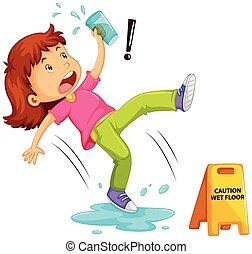 flicka, våt, halkning, golv