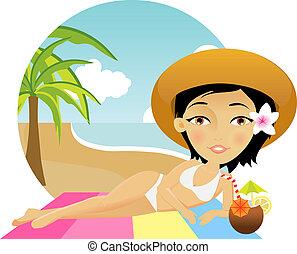 flicka, vacker, strand, lögner, handduk