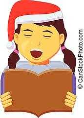 flicka, vektor, hatt, jultomten, kor