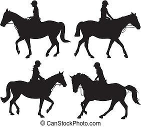 flicka, vektor, -, ikon, hästryggen
