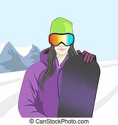 flicka, vektor, snowboarder, illustration