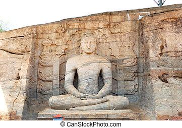 flicka, vihare, ('the, sten, shrine'), presenterar, tre, statyer, av, den, buddha, in, tre, olik, ge sig sken, snid, från, den, samma, stort, vagga, sri lanka