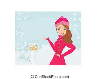 flicka, vinter, vacker