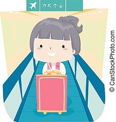 flicka, walkalator, illustration, unge