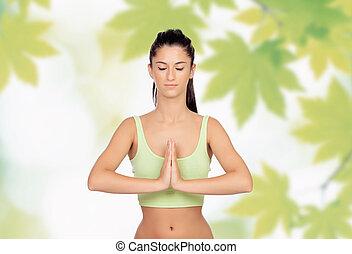 flicka, yoga, vacker