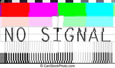 Flicker Glitch transmission, distorted color bars pattern No...