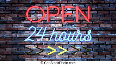 flickering blinking red and blue neon sign on brick wall background, open shop bar 24 hours sign