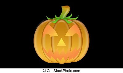 Flickering Candlelit Carved Pumpkin