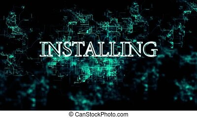 """Flickering digital grid with """"Installing"""" text - Animation..."""