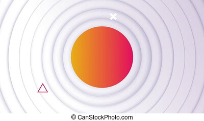 Animation of flickering orange circle and abstract shapes over white circles pulsating in seamless loop in the background. Colour and movement concept digitally generated image.