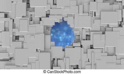 Flickering particles on blue background