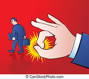 Flicking away - Vector illustration of a giant hand flicking...