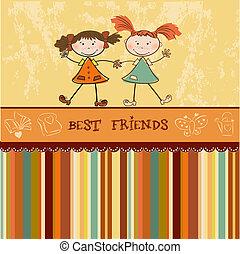 flickor, litet, vänner, två, bäst
