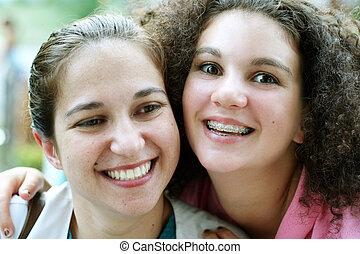 flickor, lycklig