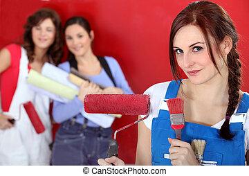 flickor, målning, deras, färsk, lägenhet