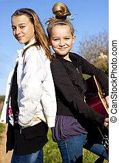 flickor, med, gitarr