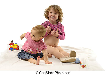 flickor, med, toys