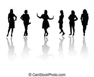 flickor, mode, silhuett
