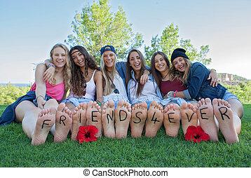 flickor, någonsin, grupp, vänner, lycklig
