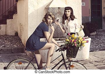 flickor, par, mode, cykel