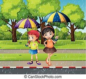 flickor, paraply, två, regna