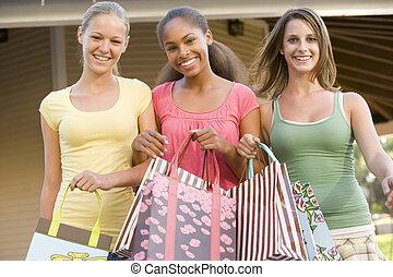 flickor, tonårig, inköp, ute