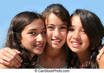 flickor, tre, lycklig