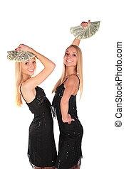 flickor, tvilling, svänga, dollars
