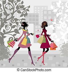 flickor, vandrande, omkring, stad, med, inköp
