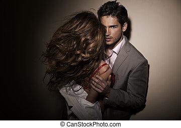 flickvän, grabb, hans, sensuell, stilig