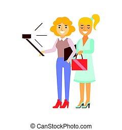flickvänner, stående, tagande, selfie, med, selfie, käpp, och, smartphone, person, existens, direkt, alla, den, tid, besatt, med, grej