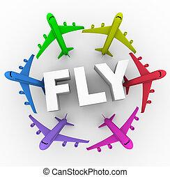 fliegen, -, bunte, flugzeuge, ungefähr, wort