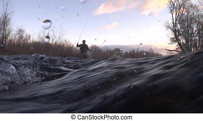 fliegen fischer, kugel, von, underwater, fotoapperat, bei,...