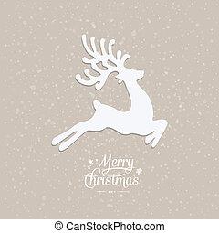 fliegen, fröhlich, verschneiter , rentier, hintergrund, weihnachten