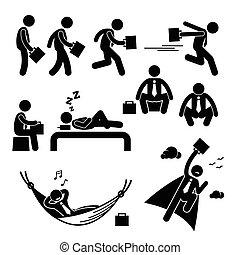 fliegen, geschäftsmann, laufen, schlaf, spaziergang