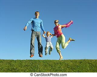 fliegen, glückliche familie, auf